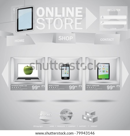 Online store web template concept with boxes - stock vector
