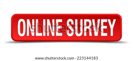 online survey red 3d square button isolated on white - stock vector