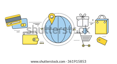 Online ticket reservation and booking accommodation. Transportation pay, search journey, offer voyage, reserve order travel, internet and flight illustration. Set of thin, lines flat icons - stock vector