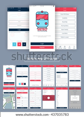 Online Tickets Booking Mobile Apps Material Design, UI, UX and GUI  with Login, Home, Register, Check PNR Status, Availability, Route Map, Book Tickets, Add Details, Cancel Ticket, Profile, Log Out. - stock vector