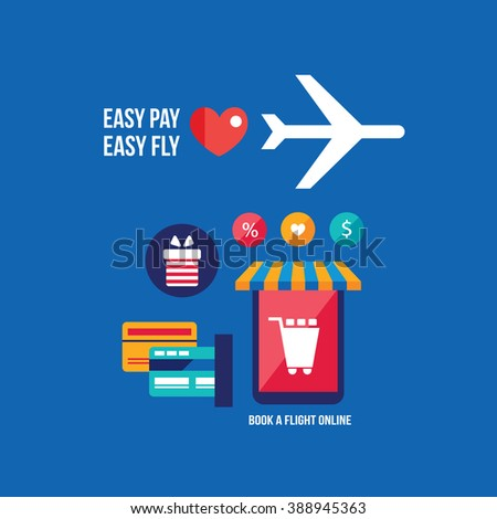 Online tickets booking Mobile payment Travel Tourism Vacation Technology concept - stock vector