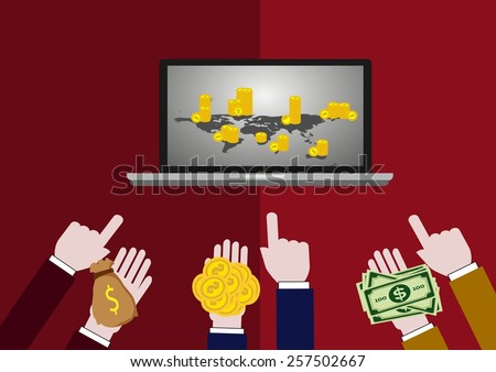 Online trading and investing. Successful stock trader conducts his business online. Business concept. - stock vector