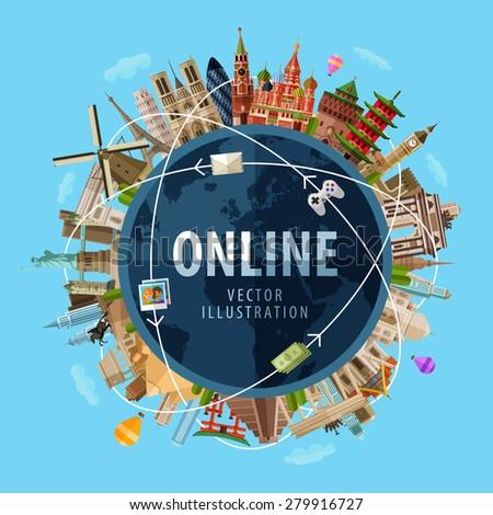 online vector logo design template. Internet or communication icon. - stock vector