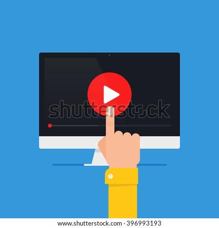 Online video concept. Internet video illustration. Distance training videos. Online learning design. Video conference and webinar image. Study using video online. Streaming video.  - stock vector