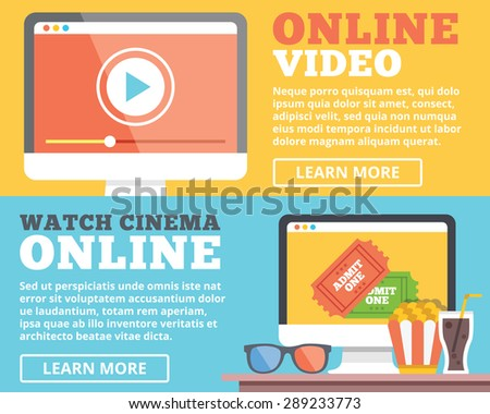 Online video, online cinema flat illustration concepts set. Flat design concepts for web banners, web sites, printed materials, infographics. Creative vector illustration - stock vector