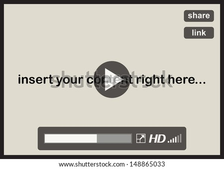 Online video player software window - illustration - stock vector