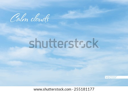 Only sky is covered by cirrus clouds as haze. Vector background - stock vector