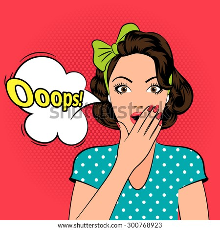 Ooops. Scared or Surprised woman in pop art style - stock vector