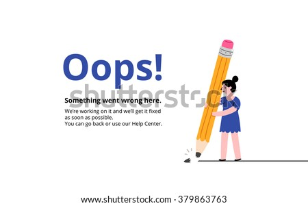 Oops broken pencil 404 error page, vector template - stock vector