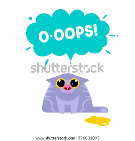 OOPS card with cat isolated on white background. Fun excuse concept vector illustration. Error idea web banner. Cat mistake. Expression oops.  - stock vector