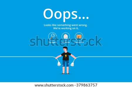 Oops 404 error page, vector template - stock vector