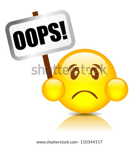 Oops vector smiley, eps10 illustration - stock vector