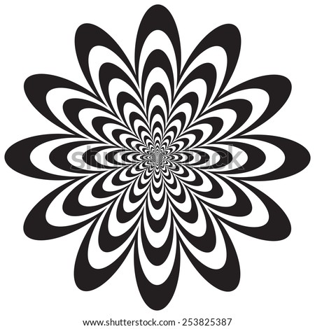 Op Art Flower optical illusion design in black and white. Colors are grouped for easy editing. - stock vector