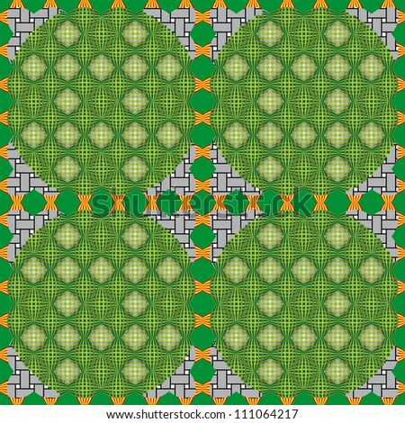 Op Art. Optical illusion, bulge, distortion. Hypnotic illusion. Green abstract background, seamless pattern - stock vector