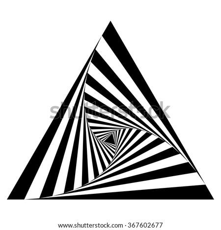 Op art triangle, monochrome logo design element, vector illustration - stock vector