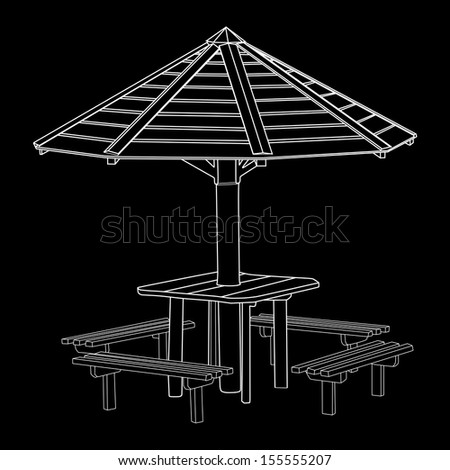 Open air wooden gazebo vector ideal place for picnic. Black and white. - stock vector
