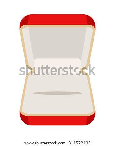 Open an empty box for jewelry. Beautiful red box for rings or earrings. Vector illustration