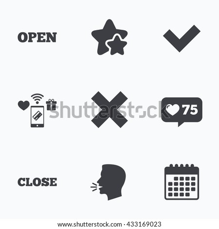 Open and Close icons. Check or Tick. Delete remove signs. Yes correct and cancel symbol. Flat talking head, calendar icons. Stars, like counter icons. Vector - stock vector