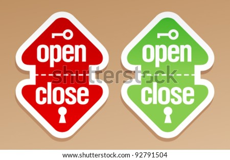 Open and close packing signs. - stock vector