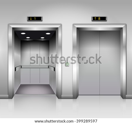 Open and closed chrome metal office building elevator doors realistic vector illustration - stock vector