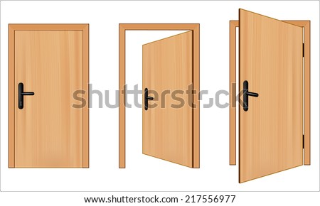 Open and closed 3d brown wooden door concept. Opening up to new opportunities. One door is opened inside and other outside. vector art image illustration, realistic design isolated on white background - stock vector