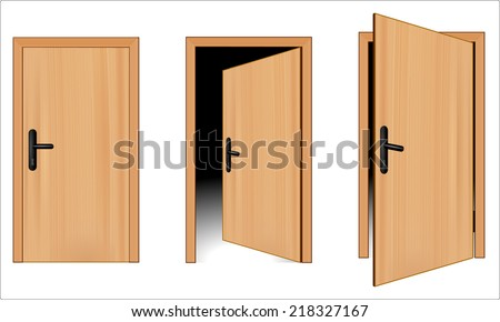 Open and closed 3d brown wooden door concept. Opening up to new opportunity. One door is opened inside and other outside. vector art image illustration, realistic design isolated on white background - stock vector