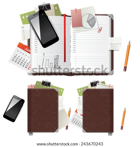 Open and closed diary and office supplies - stock vector