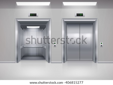 Open and Closed Modern Metal Elevator Doors. Hall Interior in Gray Colors - stock vector