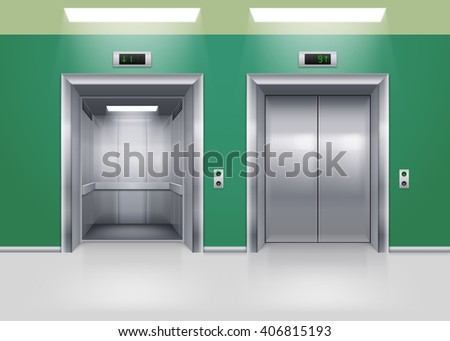 Open and Closed Modern Metal Elevator Doors. Hall Interior in Green Colors - stock vector