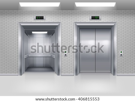 Open and Closed Modern Metal Elevator Doors in a Brick Wall - stock vector