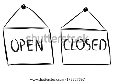 Open and closed shop signs sketch on white - stock vector