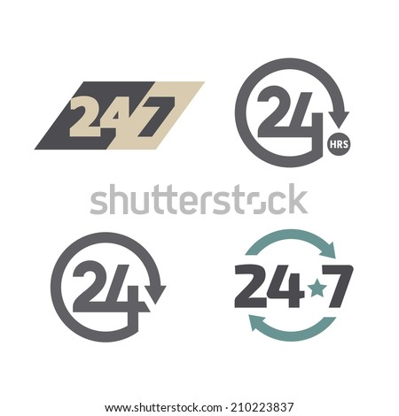Open around the clock 24 hours 7 days a week icons set. - stock vector