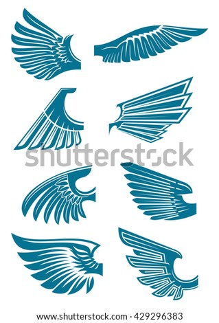 Open bird wings icons for heraldic symbol or tattoo design usage with medieval stylized blue silhouettes of eagle, hawk or falcon wings - stock vector