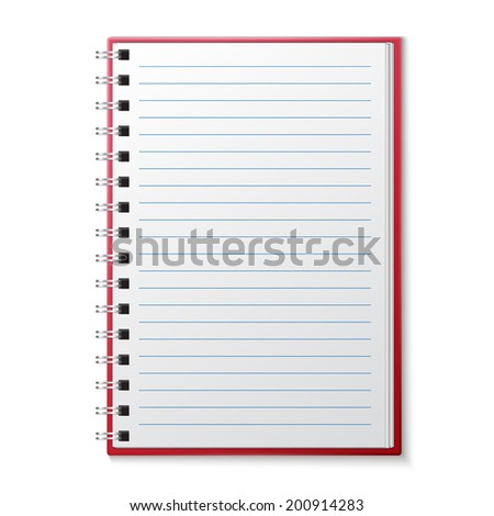Open Blank Lined Page notebook - stock vector