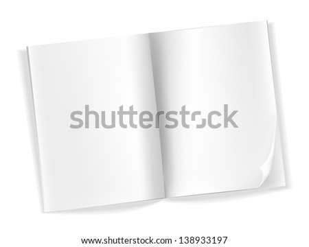 open blank magazine pages on white - stock vector