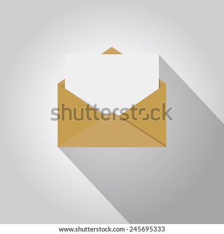 open blank mail envelope with long shadow - stock vector
