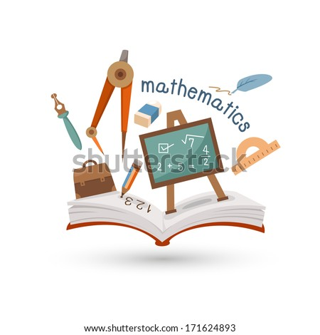 Open book and icons of mathematics. Concept of education - stock vector