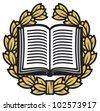 open book and laurel wreath (book emblem, book symbol, school symbol, book icon) - stock vector