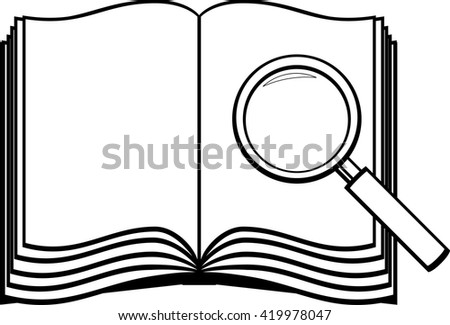 open book and magnifier - stock vector