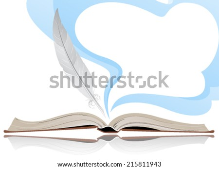 Open book and white feather. Abstract education symbol  - stock vector
