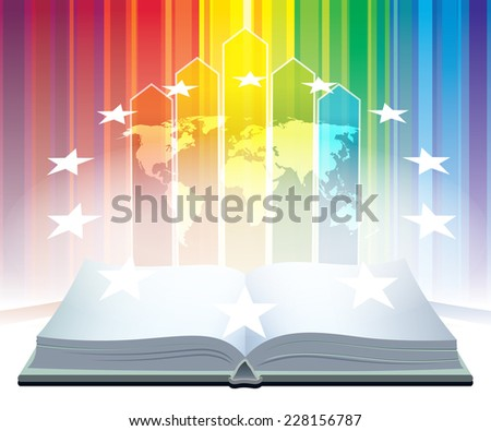 Open book and world map with stars over a colorful background - stock vector