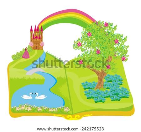 Open book - beautiful princess in the garden  - stock vector