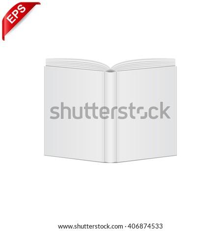 open book blank cover, vector mock up open book cover, isolated mockup opened book cover - stock vector