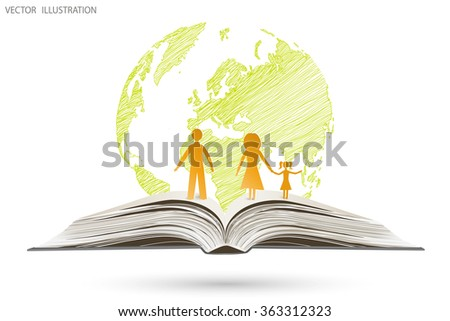 Open book happy family stories on the background of globe, vector illustration template design. Handwriting - stock vector