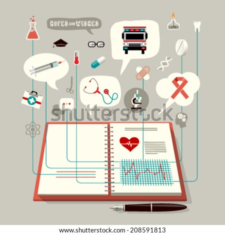 Open Book in Practice Office. Unusual Icon logo Medical Set . The Concept of Modern Medicine. Easy editable for your design.  - stock vector