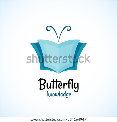 Open book logo witn butterfly horns at the top. - stock vector