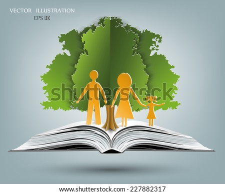 Open book of happy family stories, Vector illustration template design - stock vector