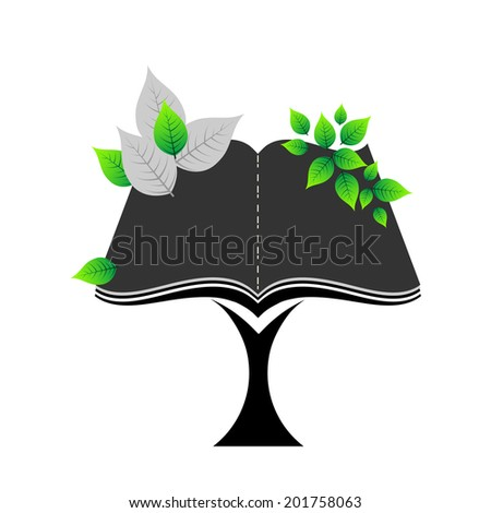 Open book tree icon no Transparencies - stock vector