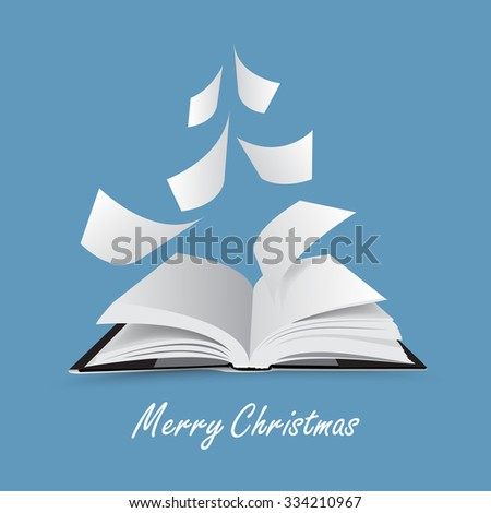 Open book - vector illustration - christmas tree - merry christmas  - stock vector