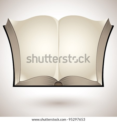 Open book with blank pages - vector. - stock vector
